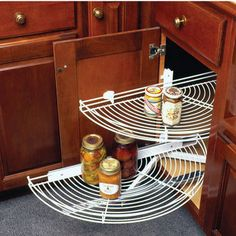 Knape & Vogt Wire Half-Round Lazy Susans with Pivot-Out Shelf Motion Kitchen Upgrades, Kitchen Reno, Kitchen Items, Kitchen Remodel, Kitchen Stuff, Kitchen Pantry Storage, Storage Cabinets, Blind Corner Cabinet, Kitchen Blinds