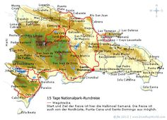 Wegstrecke Nationalpark-Rundreise