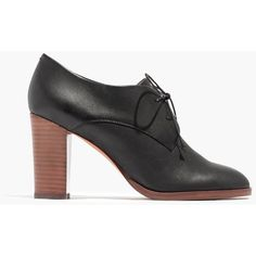 MADEWELL The Bette High-Heel Oxford in True Black ($150) ❤ liked on Polyvore featuring shoes, oxfords, true black, oxford shoes, high heel platform shoes, high heel oxfords, leather oxfords and synthetic leather shoes