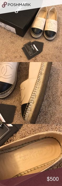 Chanel platform black and beige espadrilles Worn few times. New in 2017. Comes with authenticity card. Size 36 / us 6. CHANEL Shoes Espadrilles