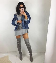 Thigh high OTK (over the knee) boots are so hot and trendy in fashion right now. Women are buying them up quick, luckily there are a ton of online shops that offer them at great prices! Gray thigh high boots, oversized gray tee, and a jean jacket in this cute and simple outfit. <3 @benitathediva