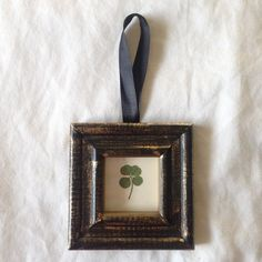 Real Four Leaf Clover in Vintage Frame by PeppyFox on Etsy