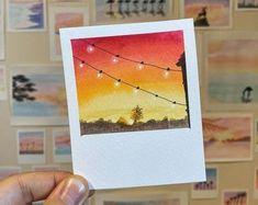 canvas art Polaroid paintings by TalbotDesigns Cute Canvas Paintings, Small Canvas Art, Mini Canvas Art, Small Paintings, Diy Canvas, Canvas Frame, Aesthetic Painting, Aesthetic Art, Art Mini Toile