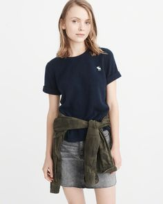 7ae02b420a A amp F Women s Icon Cashmere Tee in Navy Blue - Size L Semi Casual