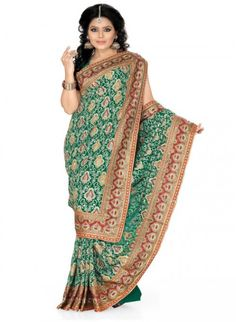 Lush Jade Green Color Faux Georgette Based Embroidered #Saree