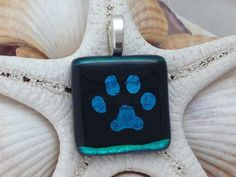 Turqoise Blue Paw Print  Dichroic Fused by RyanstonesFusedGlass, $20.00