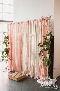 A DIY peach and cream backdrop