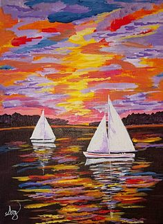 SUNSET SAILBOATS by Amber Gross is a stunning 9x12 painting. Look at the great reflections in the water and sky. Super