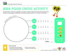 Introduce kids to new flavors with this MyPlate Food Critic activity. #Parents #Printables #Teachers #Kids #Nutrition