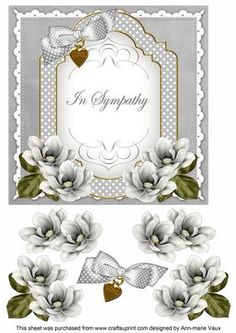 Silver Magnolia In Sympathy Fancy 7in Decoupage Topper on Craftsuprint - Add To Basket!