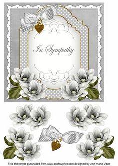 Silver Magnolia In Sympathy Fancy 7in Decoupage Topper on Craftsuprint - Add To Basket!
