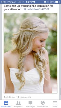 Wedding day hair- romantic, elegant and goes well with a veil