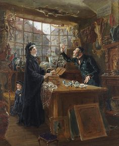 Hedley, Ralph, (1848-1913), The Old China Shop, 1877, Oil