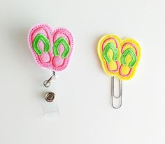 Flip Flop Feltie | Paperclip | ID Badge Reel | Felt Badge Holder | Lanyard | Planner Clip | Planner Accessories | Felt Sandals | Summer