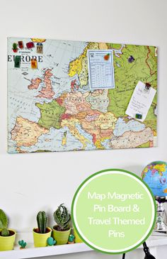 Upcycled Map Magnetic pin board with shrink plastic travel themed pins