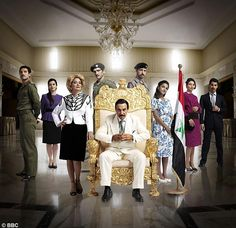 """Characters from the 2008 HBO series """"House of Saddam"""" (from left to right: Saddam Kamel, Rana Hussein, Sajida Talfaq, Hussein Kamel, Saddam Hussein, Uday Hussein, Hala Hussein, Raghad Hussein, and Qusay Hussein."""