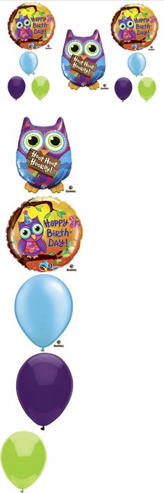 Who's Birthday HOOT OWL PARTY Balloons Decorations Supplies Teen Girl - This listing is for a 9-piece Hoot Owl  Birthday balloon bouquet kit.   These  balloons are sure to be a hit!    You will receive:   One (1) 34 Hoot Hoot Hooray Owl Happy Birthday mylar shape balloon... - Balloons - Office Products - $12.50