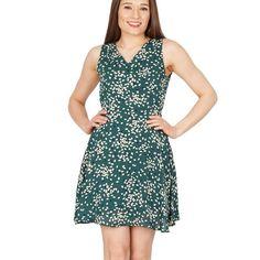 Green diamond print v-neck dress