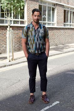 Coggles street style. Love the colours in the shirt.