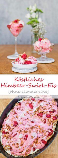 Köstliches Eis ganz ohne Eismaschine: Himbeer-Swirl-Eis!