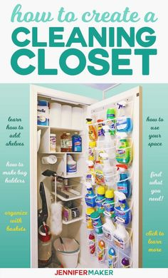 Cleaning Closet Organization and Tips – Jennifer Maker How to create an organized cleaning closet with tips for making shelves, bag holders, and door storage! Deep Cleaning Tips, House Cleaning Tips, Spring Cleaning, Cleaning Hacks, Ikea Organisation, Closet Organization, Organization Ideas, Storage Ideas, Cleaning Supply Organization
