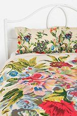 Romantic Floral Scarf Shams and Duvet..... with a nice pink or res stripe bedskirt maybe?