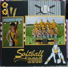 softball scrapbook page. Good layout to use with professional team pictures Baseball Scrapbook, School Scrapbook, Kids Scrapbook, Scrapbook Journal, Scrapbook Designs, Scrapbook Page Layouts, Scrapbook Paper Crafts, Scrapbook Cards, Scrapbooking Ideas