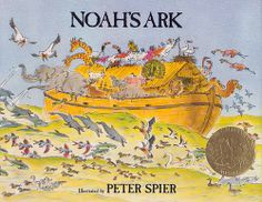 illustration, animal, bird, elephant, dolphin, camel, giraffe, swan, sea gull, ship, boat, water, ocean. Noah's Ark: Peter Spier