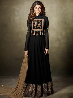 Look sensationally awesome in this Jennifer Winget black faux georgette floor length anarkali suit. This attire is beautifully adorned with embroidered and lace work. Comes with matching bottom and du. Indian Gowns, Indian Attire, Indian Outfits, Indian Wear, Bollywood Outfits, Bollywood Fashion, Bollywood Actress, Anarkali Dress, Anarkali Suits