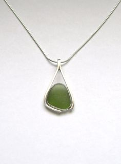 Sea Glass Jewelry  Sterling Green Sea Glass by SignetureLine, $50.00