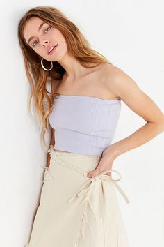 55654e7b3b Slide View  4  UO Hallie Ribbed Knit Tube Top Vintage Tops
