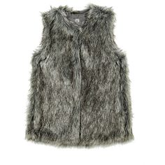 Vince Camuto Long Hair Faux Fur Vest ($129) ❤ liked on Polyvore featuring outerwear, vests, steel htr acrylic, vince camuto, fake fur vest, faux fur vest, faux fur waistcoat and vest waistcoat