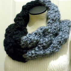 Knitted Colorblock Cowl Neckwarmer Infinity Scarf by iaFlowerPower, $56.00