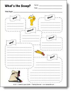"Corkboard Connections: Create Easy Online Classroom Magazines! Use this ""What's the Scoop?"" graphic organizer for students to plan their articles."