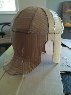 Roman Armour Part Start at the top Roman Soldier Helmet, Roman Soldier Costume, Greek God Costume, Roman Helmet, Cardboard Costume, Cardboard Mask, Cardboard Crafts, Foam Armor, Kids Dress Up