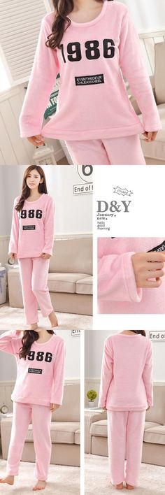 a579f89cff Winter lovely flannel pajamas keep warm cute women casual home wear  sleepwear sets sleepwear as a fashion statement