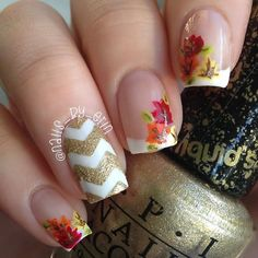 Decorate your nails in chevron pattern and leaves with gold shimmery accent. See the nail products and techniques needed to DIY in this how-to.