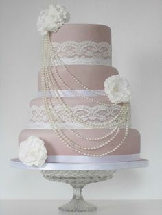 beautiful lace and pearl cake
