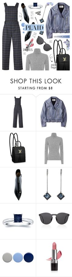 """Plaid Overalls & Leather Jacket - Street Style"" by anyasdesigns ❤ liked on Polyvore featuring EVIDNT, Acne Studios, Louis Vuitton, Jardin des Orangers, Gianvito Rossi, Monique Péan, Auriya, Illesteva, Burberry and Avon"