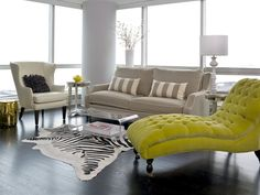 Modern Transitional Living Room - Combinding a Traditional White Wing Back Char - Gray Contemporary Sofa - Chartreuse Chaise - with Stripes - Zebra - Black -Gold and Modern Tables ~by Cynthia Lynn