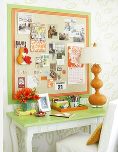 The lime green and orange is what sold me on this workspace. A small desk topped with a giant pinboard creates a little oasis for letter writing. Sweet.  (via Better Homes & Gardens)