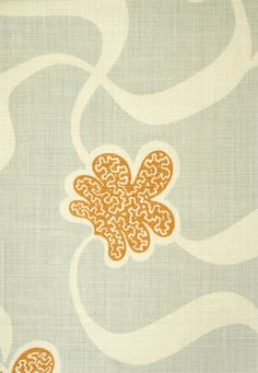 Cocoa Beach Fabric Linen Cocoa Beach Fabric is a large fresh contemporary floral design in pale grey blue with an orange flower, printed on a heavy weight cream linen.