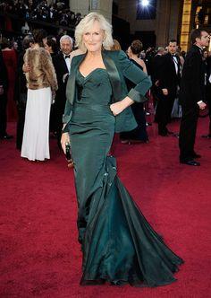 Glenn Close wore a dark green Zac Posen gown to the 2012 Oscars.
