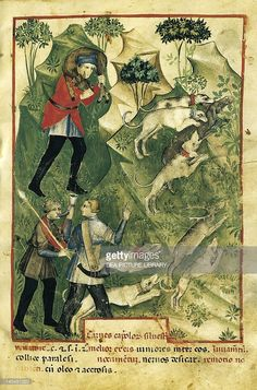 Stock Illustration : The hunt, by Giovannino de Grassi from the Tacuinum Sanitatis (The Medieval Health Handbook), manuscript, Italy 14th Century.
