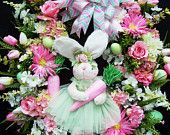 Easter Wreath Spring  Bunny Pink Carrots  With A Shabby Chic Cottage Victorian  Flair