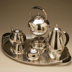 "Gallery 925 - Georg Jensen ""Cosmos"" Coffee and Tea Service, no. 45 on Extra Large Tray, no. 251A, Handmade Sterling Silver"