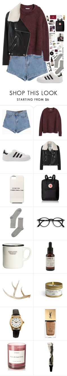 """""""I LOST MY HEART IN THE NIGHTTIME"""" by kappucino ❤ liked on Polyvore featuring H&M, adidas Originals, Acne Studios, Fjällräven, Monki, Le Labo, American Apparel, Yves Saint Laurent, Byredo and Ariella Collection"""