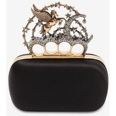 Alexander McQueen Black Satin Flying Unicorn Knuckle Clutch (£2,590) ❤ liked on Polyvore featuring bags, handbags, clutches, alexander mcqueen handbags, satin purse, alexander mcqueen, knuckle clutches and knuckle purse