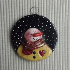 "Bucky ~ 3"" round hand sculpted polymer clay snowman Christmas tree ornament by JessiesCornerClay on Etsy"