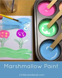 Marshmallow Paint Art Center Activity … everyone loved making and painting wit… Marshmallow Paint Art Center Activity … everyone loved making and painting with this today. Marshmallow Activities, Marshmallow Crafts, Marshmallow Cream, Art For Kids, Crafts For Kids, Easy Crafts, Preschool Painting, Preschool Projects, Children Projects